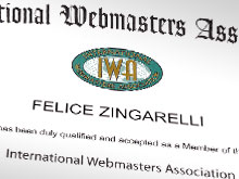Felice Zingarelli accettato come membro dell'IWA - International Webmasters Association